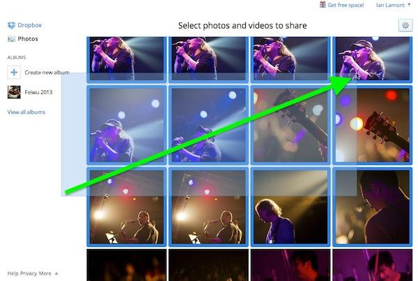Dropbox Photos how to select