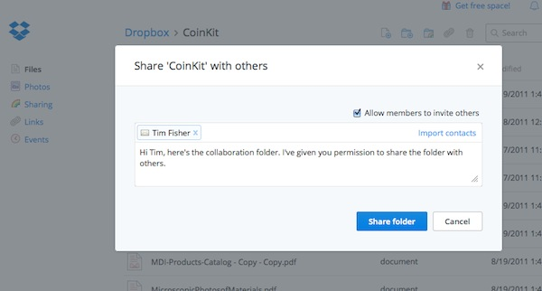 Dropbox sharing links and folders